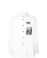 weißes und schwarzes bedrucktes Langarmhemd von Raf Simons