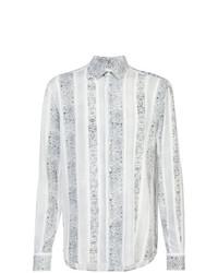 weißes und schwarzes bedrucktes Langarmhemd von Saint Laurent