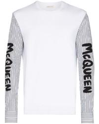 weißes und schwarzes bedrucktes Langarmshirt von Alexander McQueen