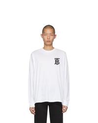 weißes und schwarzes bedrucktes Langarmshirt von Burberry