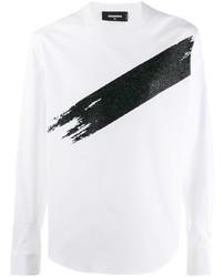 weißes und schwarzes bedrucktes Langarmshirt von DSQUARED2