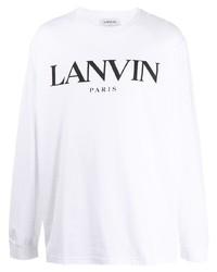 weißes und schwarzes bedrucktes Langarmshirt von Lanvin