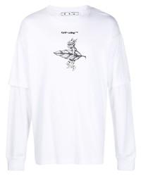 weißes und schwarzes bedrucktes Langarmshirt von Off-White