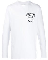 weißes und schwarzes bedrucktes Langarmshirt von Philipp Plein