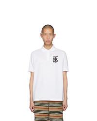 weißes und schwarzes bedrucktes Polohemd von Burberry