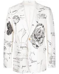 weißes und schwarzes bedrucktes Sakko von Alexander McQueen