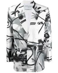 weißes und schwarzes bedrucktes Sakko von Off-White
