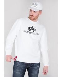 weißes und schwarzes bedrucktes Sweatshirt von Alpha Industries