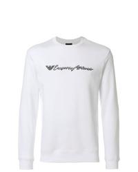 weißes und schwarzes bedrucktes Sweatshirt von Emporio Armani