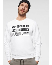 weißes und schwarzes bedrucktes Sweatshirt von G-Star RAW