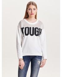 weißes und schwarzes bedrucktes Sweatshirt von Jacqueline De Yong