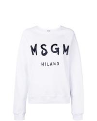 weißes und schwarzes bedrucktes Sweatshirt von MSGM