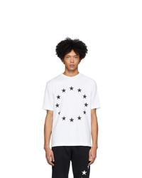 weißes und schwarzes bedrucktes T-Shirt mit einem Rundhalsausschnitt von Études