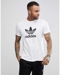 weißes und schwarzes bedrucktes T-Shirt mit einem Rundhalsausschnitt von adidas