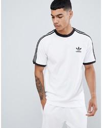 weißes und schwarzes bedrucktes T-Shirt mit einem Rundhalsausschnitt von adidas Originals
