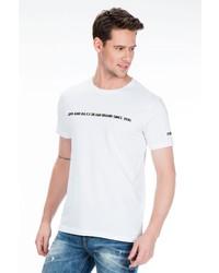 weißes und schwarzes bedrucktes T-Shirt mit einem Rundhalsausschnitt von Cipo & Baxx