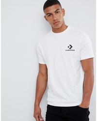 weißes und schwarzes bedrucktes T-Shirt mit einem Rundhalsausschnitt von Converse