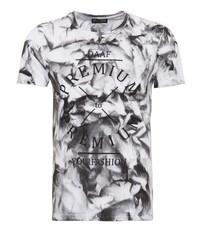 weißes und schwarzes bedrucktes T-Shirt mit einem Rundhalsausschnitt von DANIEL DAAF