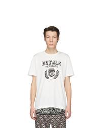 weißes und schwarzes bedrucktes T-Shirt mit einem Rundhalsausschnitt von Dolce and Gabbana