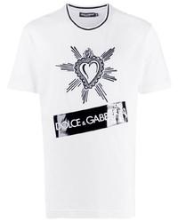 weißes und schwarzes bedrucktes T-Shirt mit einem Rundhalsausschnitt von Dolce & Gabbana