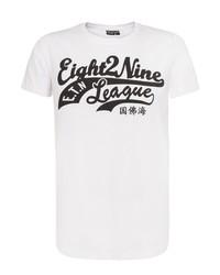 weißes und schwarzes bedrucktes T-Shirt mit einem Rundhalsausschnitt von Eight2Nine
