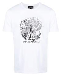 weißes und schwarzes bedrucktes T-Shirt mit einem Rundhalsausschnitt von Emporio Armani