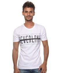 weißes und schwarzes bedrucktes T-Shirt mit einem Rundhalsausschnitt von EX-PENT