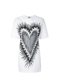 weißes und schwarzes bedrucktes T-Shirt mit einem Rundhalsausschnitt von Fausto Puglisi