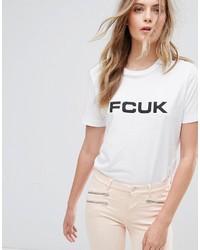 weißes und schwarzes bedrucktes T-Shirt mit einem Rundhalsausschnitt von French Connection