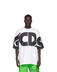 weißes und schwarzes bedrucktes T-Shirt mit einem Rundhalsausschnitt von Gcds