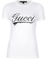 weißes und schwarzes bedrucktes T-Shirt mit einem Rundhalsausschnitt von Gucci