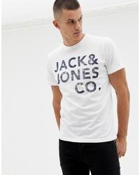 weißes und schwarzes bedrucktes T-Shirt mit einem Rundhalsausschnitt von Jack & Jones