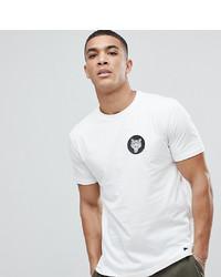 weißes und schwarzes bedrucktes T-Shirt mit einem Rundhalsausschnitt von Just Junkies