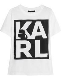 weißes und schwarzes bedrucktes T-Shirt mit einem Rundhalsausschnitt von Karl Lagerfeld