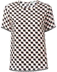 weißes und schwarzes bedrucktes T-Shirt mit einem Rundhalsausschnitt von Kenzo