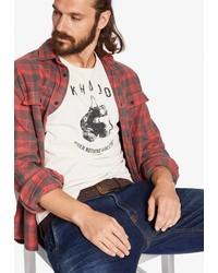 weißes und schwarzes bedrucktes T-Shirt mit einem Rundhalsausschnitt von khujo