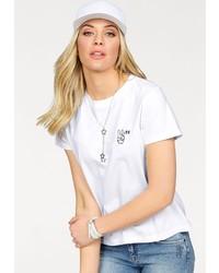 weißes und schwarzes bedrucktes T-Shirt mit einem Rundhalsausschnitt von Lee