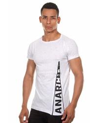 weißes und schwarzes bedrucktes T-Shirt mit einem Rundhalsausschnitt von MADMEXT