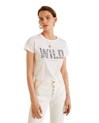 weißes und schwarzes bedrucktes T-Shirt mit einem Rundhalsausschnitt von Mango
