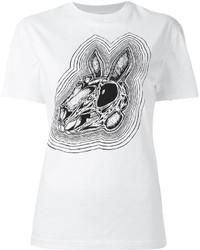 weißes und schwarzes bedrucktes T-Shirt mit einem Rundhalsausschnitt von MCQ
