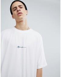 weißes und schwarzes bedrucktes T-Shirt mit einem Rundhalsausschnitt von Mennace