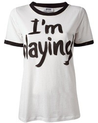 weißes und schwarzes bedrucktes T-Shirt mit einem Rundhalsausschnitt von Moschino Cheap & Chic