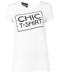 weißes und schwarzes bedrucktes T-Shirt mit einem Rundhalsausschnitt von Moschino
