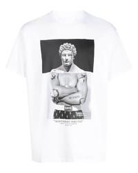 weißes und schwarzes bedrucktes T-Shirt mit einem Rundhalsausschnitt von Neil Barrett