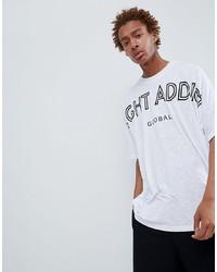 weißes und schwarzes bedrucktes T-Shirt mit einem Rundhalsausschnitt von Night Addict