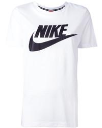 weißes und schwarzes bedrucktes T-Shirt mit einem Rundhalsausschnitt von Nike