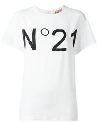 weißes und schwarzes bedrucktes T-Shirt mit einem Rundhalsausschnitt von No.21