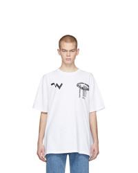 weißes und schwarzes bedrucktes T-Shirt mit einem Rundhalsausschnitt von Off-White