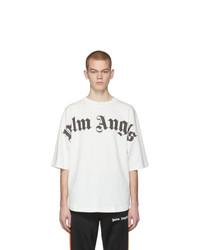 weißes und schwarzes bedrucktes T-Shirt mit einem Rundhalsausschnitt von Palm Angels