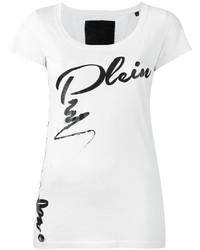 weißes und schwarzes bedrucktes T-Shirt mit einem Rundhalsausschnitt von Philipp Plein